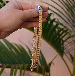 Colar choker ouro semijoia