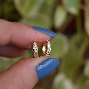 Brinco argolinha reta p zircônia ouro semijoia