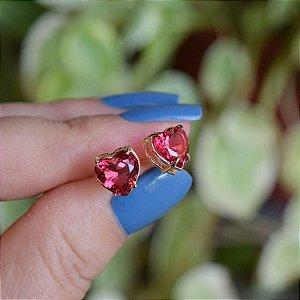 Brinco coração cristal rosa ouro semijoia