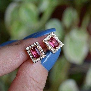 Brinco retangular cristal rosa zircônia ouro semijoia
