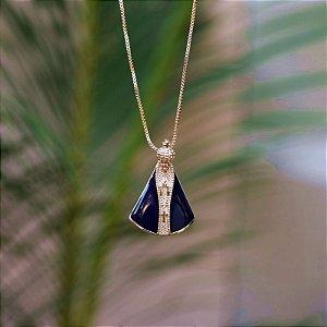 Colar Nossa Senhora Aparecida metal esmaltado azul ouro semijoia