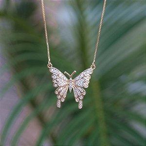 Colar borboleta zircônia ouro semijoia