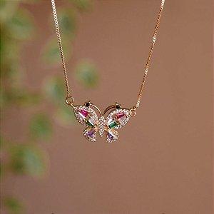 Colar borboleta zircônias coloridas ouro semijoia