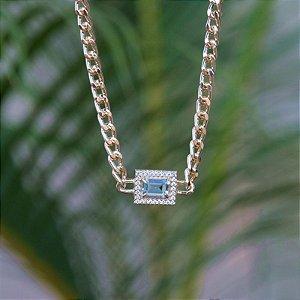 Colar choker corrente cristal azul claro  zircônia ouro semijoia