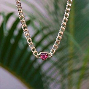 Colar choker corrente coração cristal rosa zircônia ouro semijoia