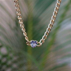 Colar choker corrente coração cristal lilás zircônia ouro semijoia