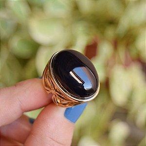 Anel oval pedra natural ágata preta ouro semijoia