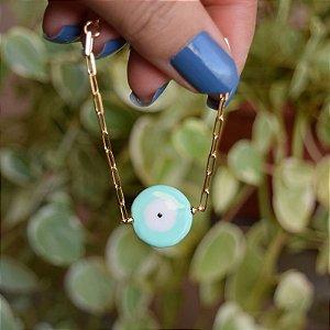 Pulseira corrente olho grego verde esmaltado ouro semijoia