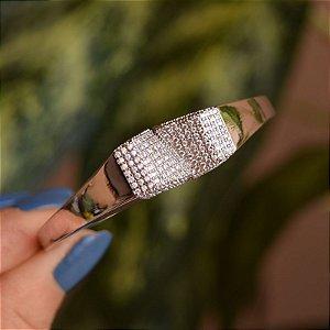 Bracelete zircônia ródio semijoia