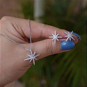 Colar e brinco estrela zircônia ródio semijoia 19k14038