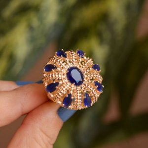 Anel oval zircônia azul ouro semijoia