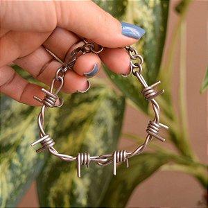 Pulseira masculina arame farpado aço inoxidável silver