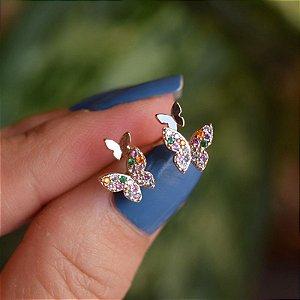 Brinco mini borboleta dupla zircônia colorida ouro semijoia