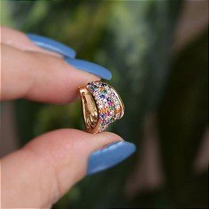 Piercing de encaixe 5 aros zircônia colorida ouro semijoia