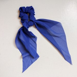 Elástico para cabelo scrunchie liso azul