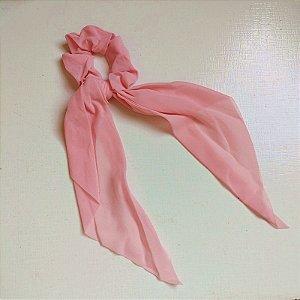 Elástico para cabelo scrunchie liso rosa