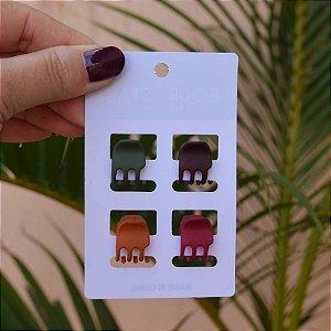 Piranha de cabelo para franja cartela com 4 peças coloridas