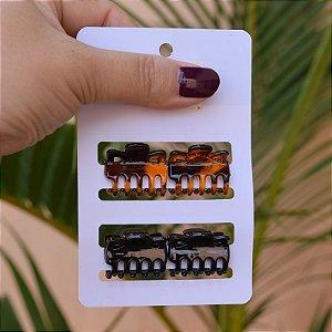 Piranha de cabelo para franja cartela com 4 peças