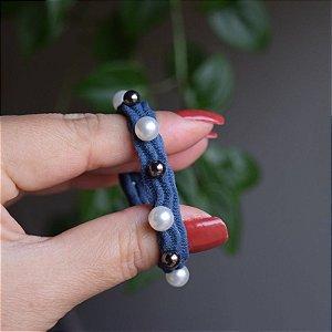 Elástico para cabelo azul com pérolas