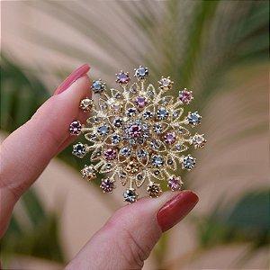 Broche magnético mandala cristais coloridos