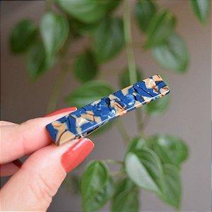 Presilha bico de pato acetato azul mesclado