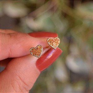 Brinco mini coração zircônia amarelo ouro semijoia