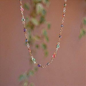 Colar longo cristais coloridos ouro semijoia