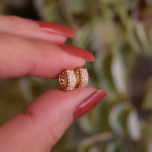 Brinco argolinha segundo furo zircônia ouro semijoia