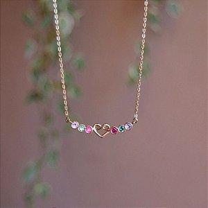 Colar corrente coração cristais coloridos ouro semijoia