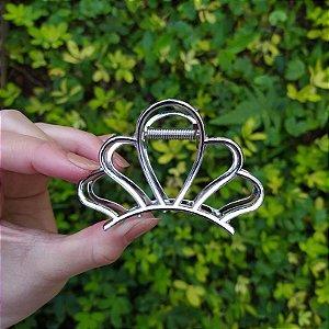 Piranha de cabelo concha  metal prata