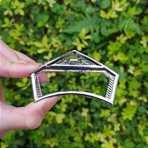 Piranha de cabelo vazada metal prata