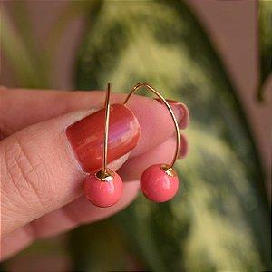 Brinco gancho bola rosa ouro semijoia