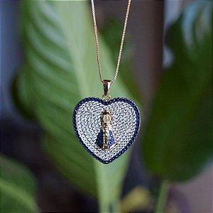 Colar coração Nossa Senhora Aparecida zircônia azul ouro semijoia 1840