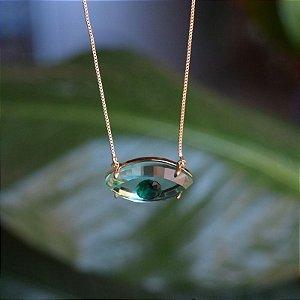 Colar olho grego cristal verde ouro semijoia