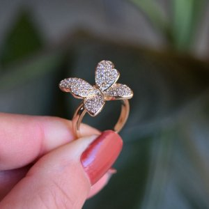 Anel borboleta zircônia ouro semijoia 142