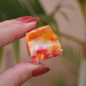Piranha de cabelo francesa Finestra tie dye laranja N748LR