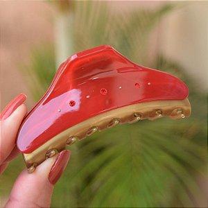 Piranha de cabelo francesa Finestra G  vermelho e dourado strass F2841BD/6sRO