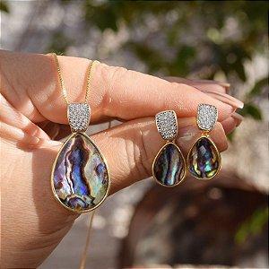 Colar e brinco gota pedra natural abalone zircônia ouro semijoia