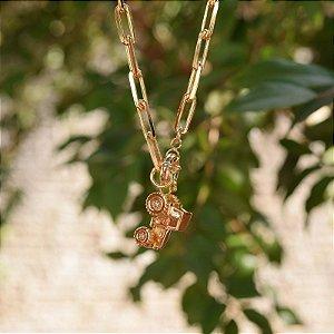 Colar corrente elos trator zircônia ouro semijoia
