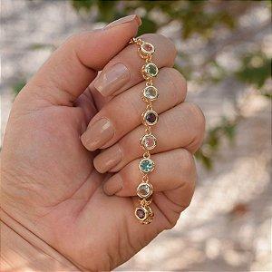 Pulseira cristais coloridos ouro semijoia