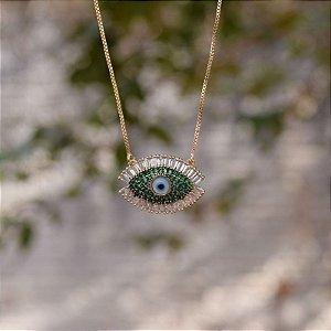 Colar olho grego zircônia verde ouro semijoia