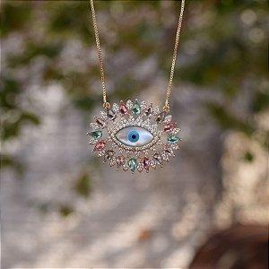 Colar olho grego zircônia colorida ouro semijoia