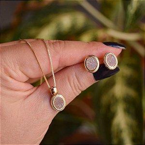 Colar e brinco oval pedra natural drusa acinzentado ouro semijoia