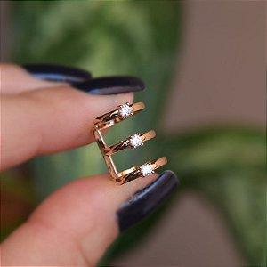Piercing de encaixe individual 3 aros zircônia ouro semijoia 4181