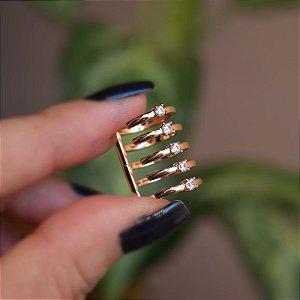 Piercing de encaixe individual 5 aros zircônia ouro semijoia 4185
