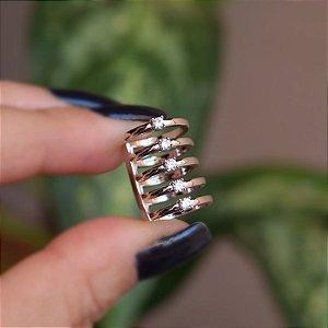 Piercing de encaixe individual 5 aros zircônia ródio semijoia 4185