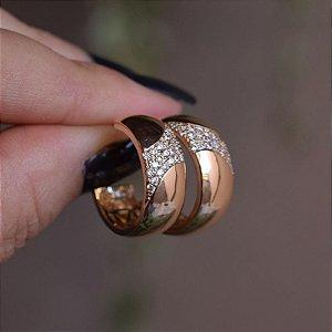 Brinco argola zircônia ouro semijoia 4243