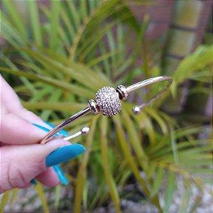 Bracelete zircônia ouro semijoia