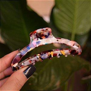 Piranha de cabelo acrílico vazada mármore colorida