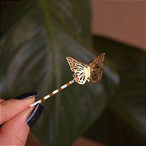 Grampo metal borboleta dourado